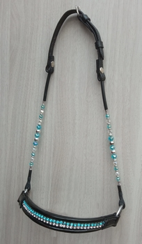Showhalster strass neusriem - turquoise