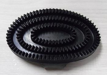 Paardenmassageborstel, rubber ovaal